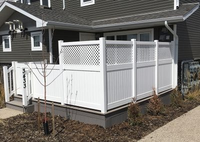 front deck white privacy fence