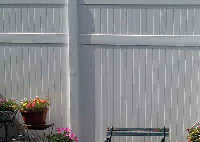 close up white pvc fence